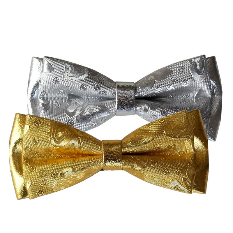 High-end Handmade Gold  Suit Luxury Bow Tie Designers Fashion Wedding Groom Best Bowtie Gifts For Men Accessories