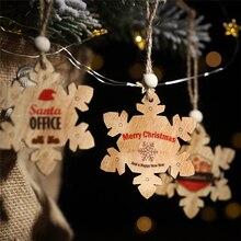 2019 Xmas New Year Christmas decorations Wooden English letter snowflake christmas tree pendant Painted snowflake tree tag 2pcs idouillet christmas snowflake tree pattern супер мягкий легкий микрофибра плюшевый флис одеяло бросить полный королевы королевы