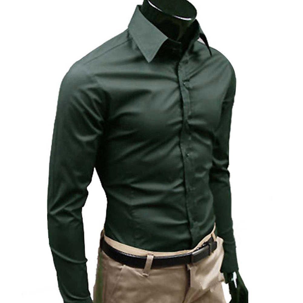 비즈니스 남성 솔리드 컬러 긴 소매 단추 슬림 코튼 플러스 사이즈 셔츠