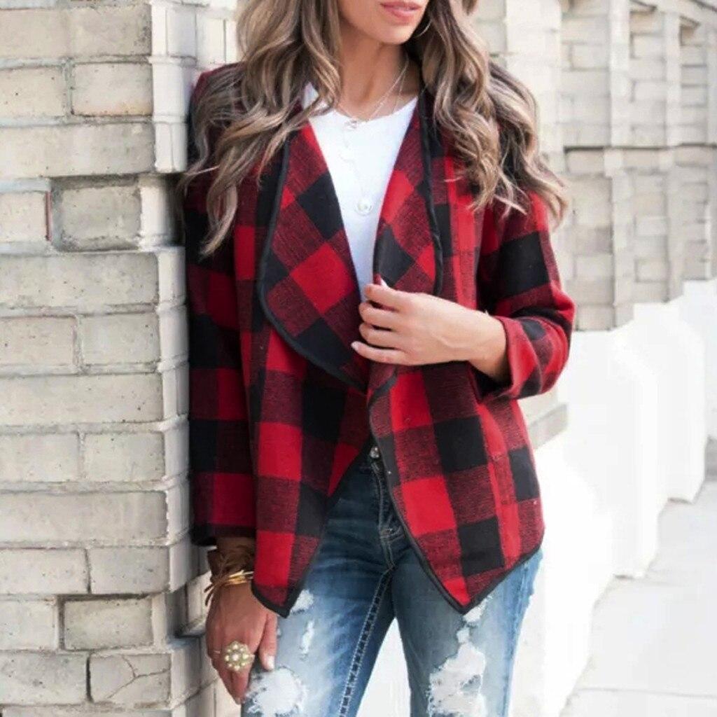 Autumn Cardigan Jacket Women Fashion Plaid Long Sleeve Open Front Cardigan Irregular Turn Down Neck Female Easy Jacket Coat