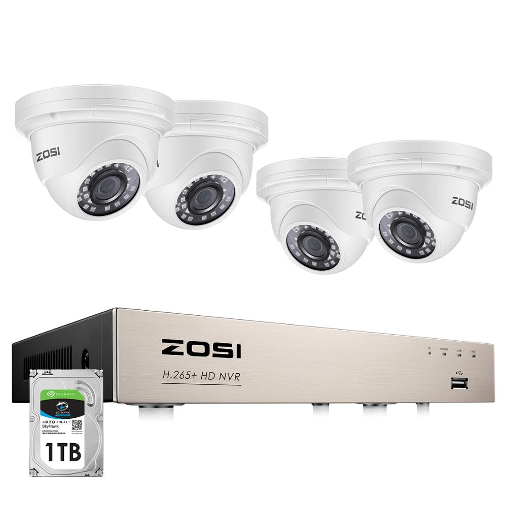 ZOSI H.265+ 8CH 5MP POE NVR Kit CCTV Home Security System 5MP Waterproof Indoor/Outdoor Dome IP Camera Video Surveillance Set
