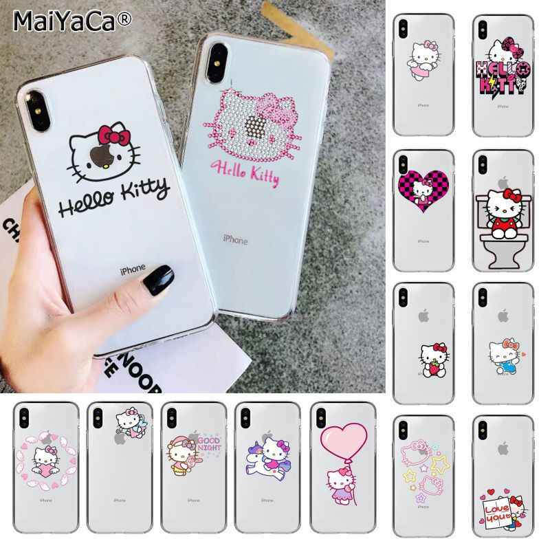 MaiYaCa Cute Hello kitty silikonowy futerał na telefon TPU pokrywa dla Apple iphone 11 pro 8 7 66S Plus X XS MAX 5S SE XR pokrywa pokrowiec do telefonu