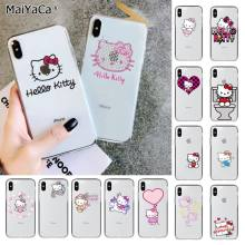 MaiYaCa lindo Hello kitty de silicona cubierta del teléfono TPU para Apple iphone 11 pro 8 7 66S X XS X MAX funda para móvil 5S SE XR(China)