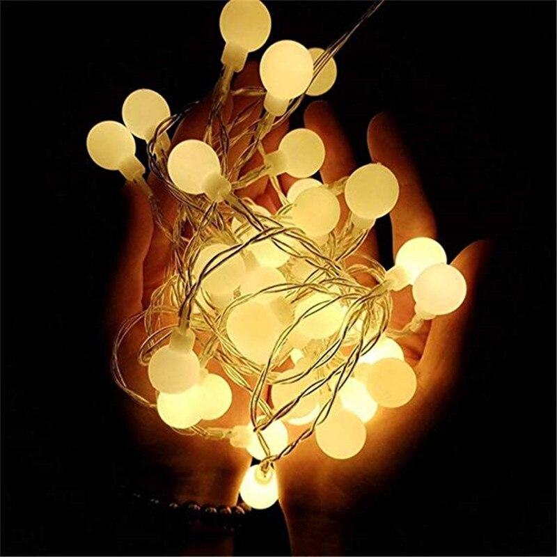 Holiday Lights Garland LED Ball 10m String Light Milky Ball Bulbs 10MM AC220V LED Lights Decoration For Home Party Celebration