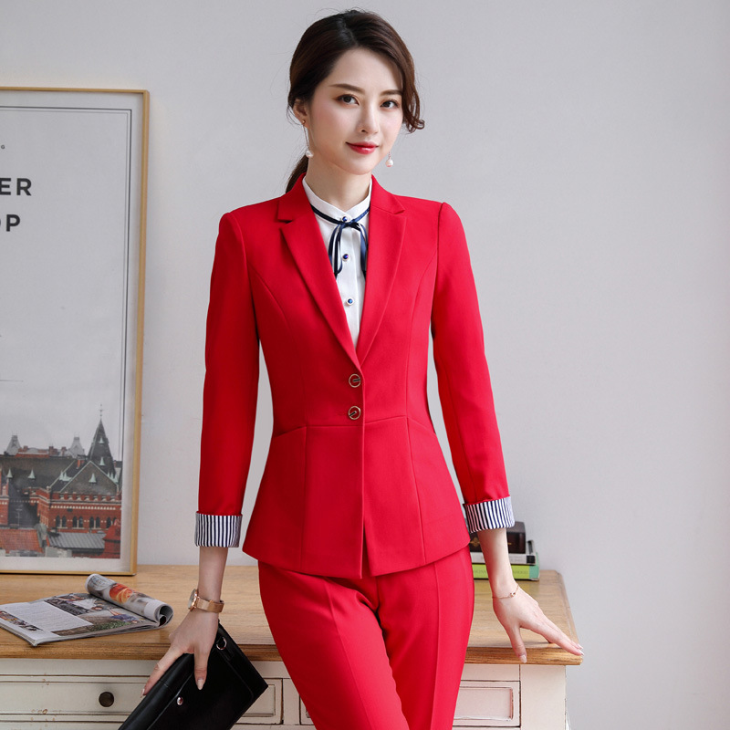 2019 Ladies Suit Suit Autumn And Winter New Long-sleeved Slim Wild Professional Wear Solid Color Trousers Women's Two-piece Suit