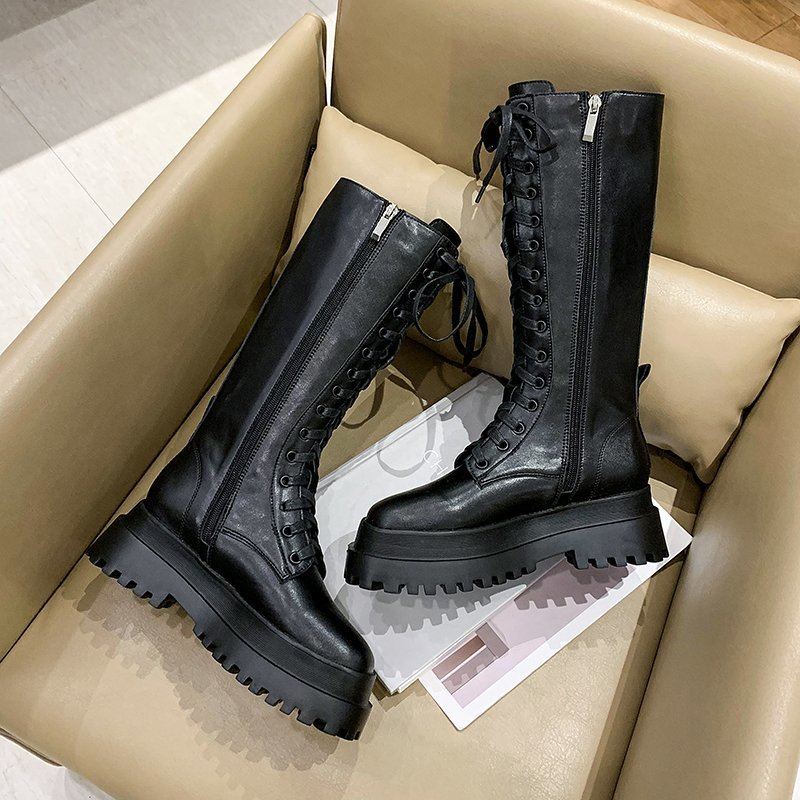 Women Mid-calf Boots Round Toe Thick High Heel Platform Shoes Soft Leather Punk Female Motorcycle Boots Mujer Bota