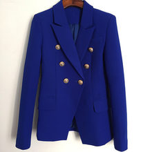 Deat 2020 Herfst Royal Blue Double Breasted Button Notched Kraag Slanke Blazer Vrouwen Jas MG583(China)