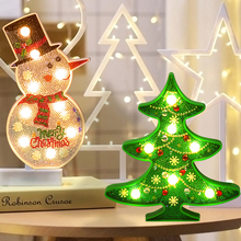 Fairy Garland LED Christmas Tree Snowman Night Light Decorations For Home Lights Decoration