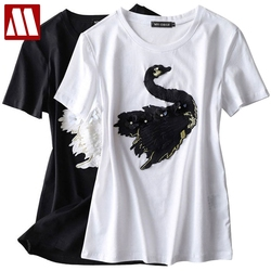 2020 nouveau mode mignon cygne broderie T-shirt femmes marque T-shirt décontracté manches courtes col rond femelle cygne Animal T-shirt 0884T
