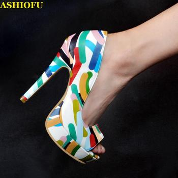 ASHIOFU Handmade Women's High Heel Pumps Peep-toe Multicolored Leather Party Dress Shoes Platform Sexy Evening Fashion Shoes