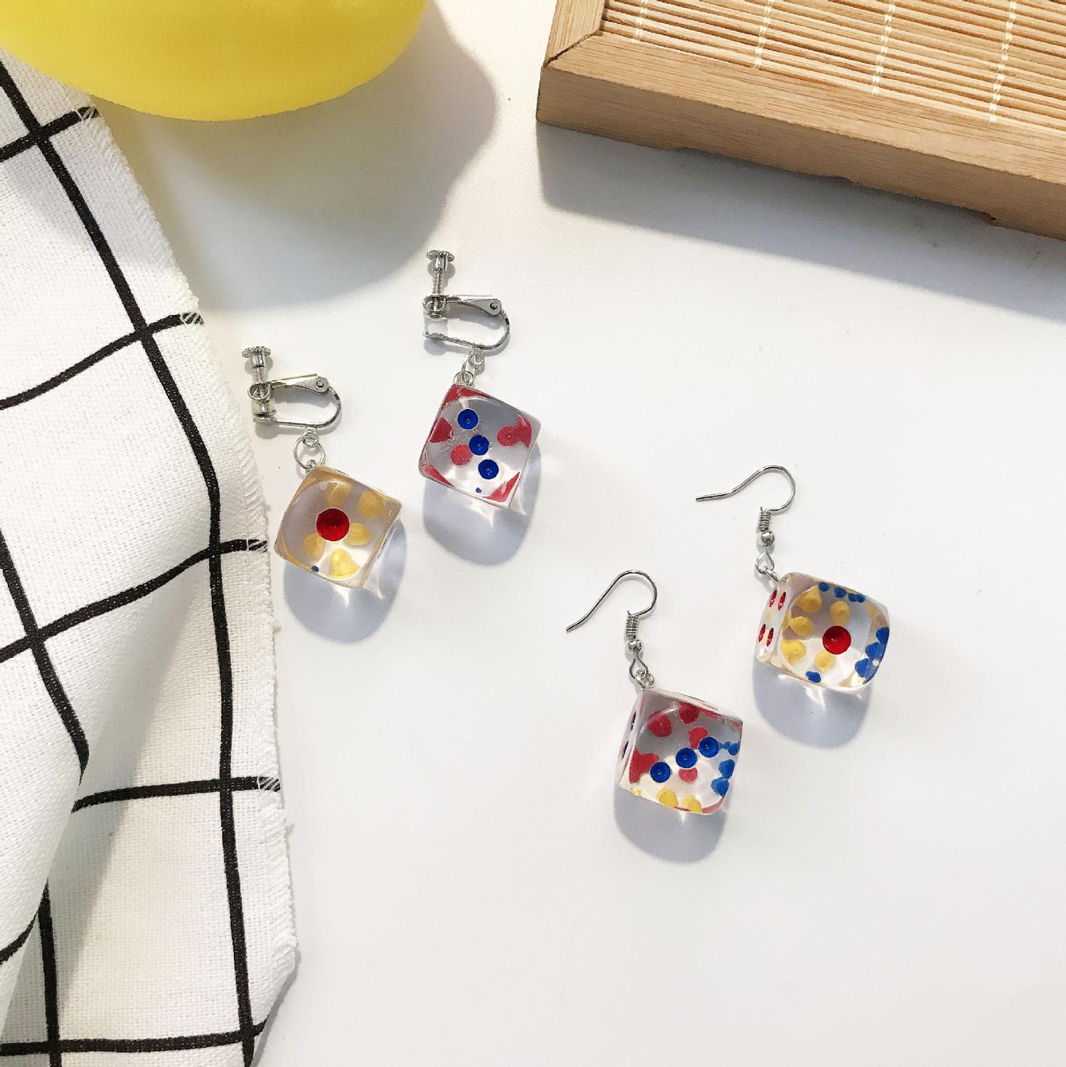 One Pair Transparent Clear Resin Studs  Dangly Earrings