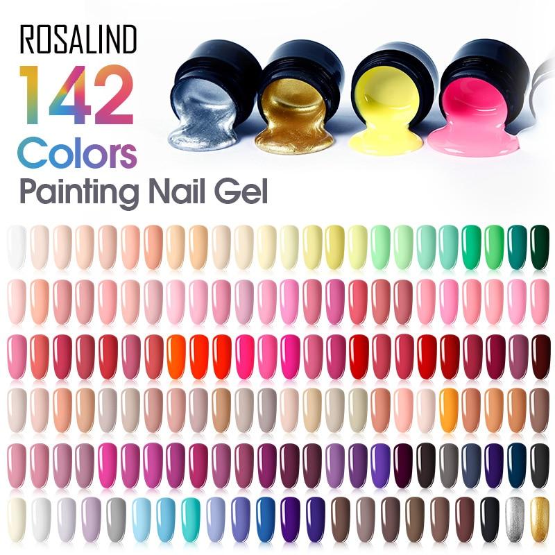 ROSALIND 5ML Painting Gel Varnish 142 Colors Gel Nail Polish Set For Manicure DIY Top Base Coat Hybird Design Of Nail Art Primer(China)
