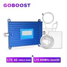 4G LTE 800MHz 20 FDD โทรศัพท์สมาร์ทสัญญาณ Booster GAIN 70dB AGC อินเทอร์เน็ต Cellular สัญญาณเครื่องขยายเสียง yagi + Whip เสาอากาศ>