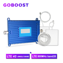 Amplificador de señal de teléfono inteligente 4G LTE, banda de 800MHz, 20 FDD, ganancia de 70dB, AGC, con antena Yagi + Whip para Internet