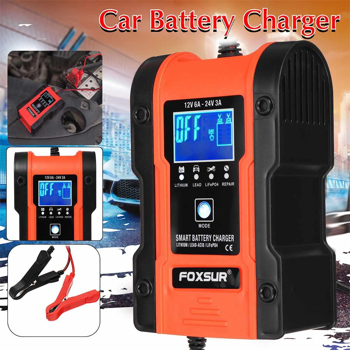 24V/12V ЖК-дисплей автомобиля Зарядное устройство 7-этап автоматический зарядки Портативный аварийного стартера Booster пусковое устройство