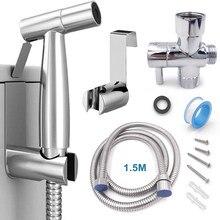 Pulvérisateur à main en acier inoxydable, kit de pulvérisation de bidet, à main en acier inoxydable pour salle de bains, pomme de douche, auto-nettoyage