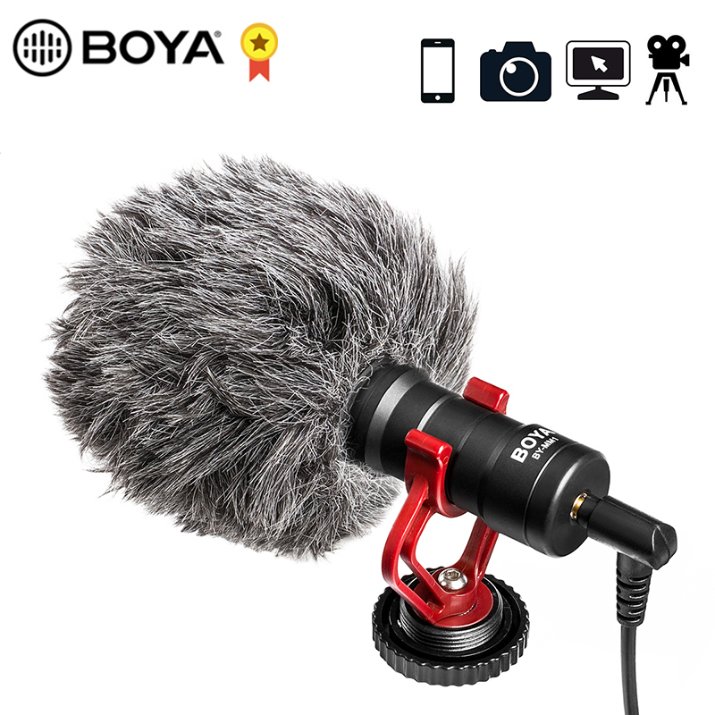 BOYA Mini Cardioid Microphone Metal Condensor Mic for iPhone Samsung Smartphones Tablet PC for Canon Nikon Sony DSLR Cameras