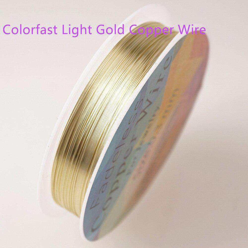 Четырехслойный разноцветный комбинезон серебро Медный провод для браслет Цепочки и ожерелья самодельные Украшения, Аксессуары 0,2/0,25/0,3/0,5/0,6/1,0 мм ремесло Бисер провода HK018 - Цвет: Colorfast light gold