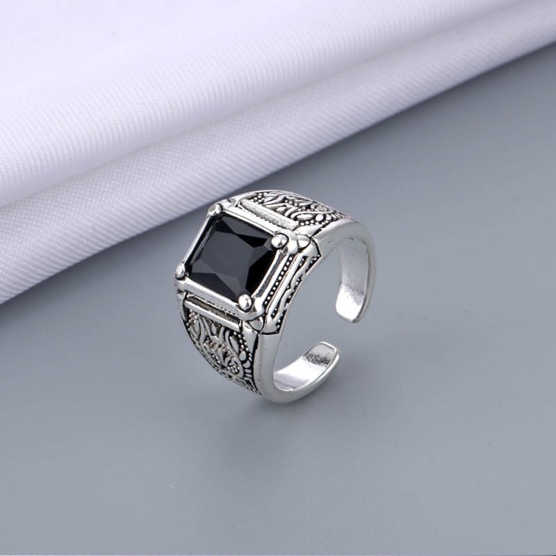 Япония и Южная Корея страна личность регулируемый Открытое кольцо винтажные Черные Квадратные Стразы Кольца для мужчин, ювелирные изделия,...