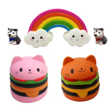 Squishy Toys Fries Banana Bread Stress-Relief Burger Popcorn Rainbow Slow Rising Squeeze-Toy