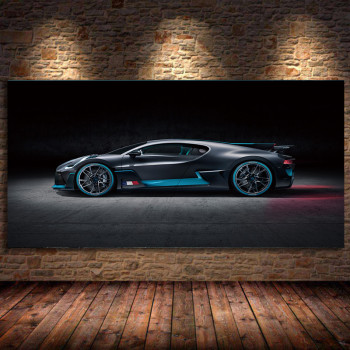 Unframed Canvas Painting BUGATTI 2018 Chiron Sport Red Car Concept Wall art Picture Silk Posters Prints Modern Home Decorations 2