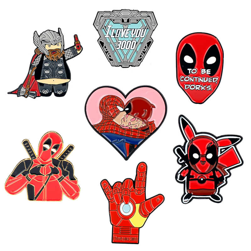Marvel Movie Iron Man Tony Stark I Love You 3000 Times Badge Brooch The Avengers Spider-Man Captain Thanos Pins Brooches Jewelry