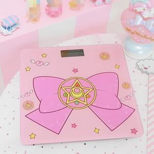 Image 4 - Cosplay Sailor Moon sakura figurka szkło hartowane śliczne elektroniczne cyfrowe waga podłogowa bilans wagi wyświetlacz LCD nowość