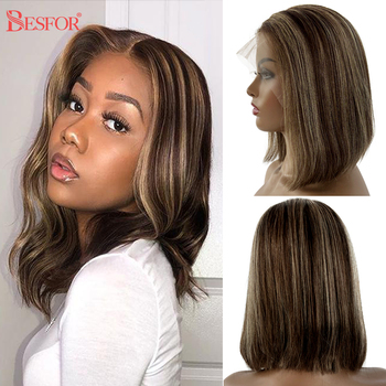 13X1 Lace Short Blonde T Part Lace Human Hair Wigs Thick 180% Density Brown Ombre Bob Wigs Pre Plucked Glueless For Black Women