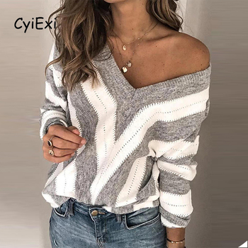 CyiExi Womens Striped Stitching Sweater Sexy V-neck Hollow Out Pullover 2020 Autumn Winter Warm Long Sleeve Mujer Sueteres S-XL