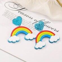 Blue Heart Rainbow Stud Earrings Personality Women Acrylic Geometric Trendy Fashion Jewelry