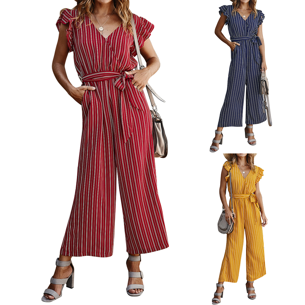 Striped Jumpsuits Casual Ruffle Jumpsuit V Neck Jumpsuit Women Summer 2020 Sashes Elegant Rompers Overalls Pocket Sexy Jumpsuit