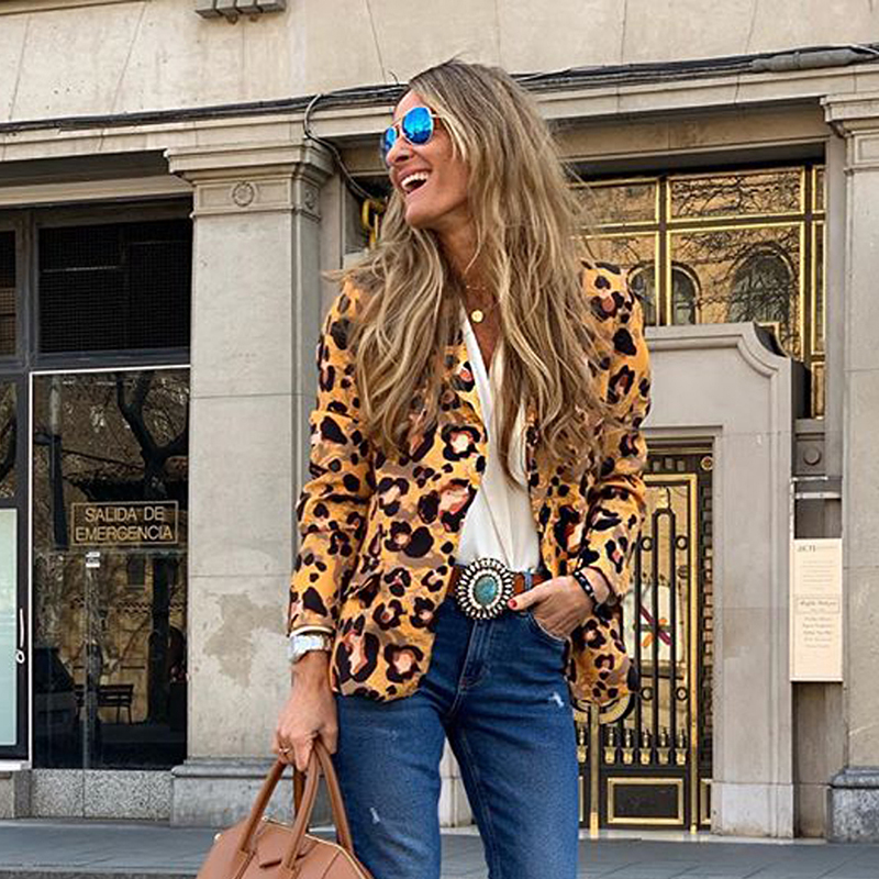 Hot 2019 spring and autumn new women's jacket fashion leopard long sleeves notched one button slim Slim mid-length small suit