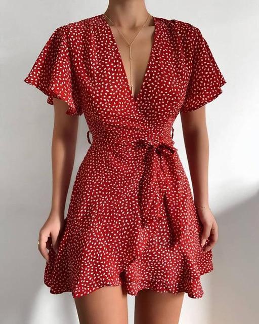 Butterfly Sleeve Polka Dot Floral Print Summer Women Dress V Neck High Waist Sashes Dress Vintage Female Mini Red Vestidos 2021 1