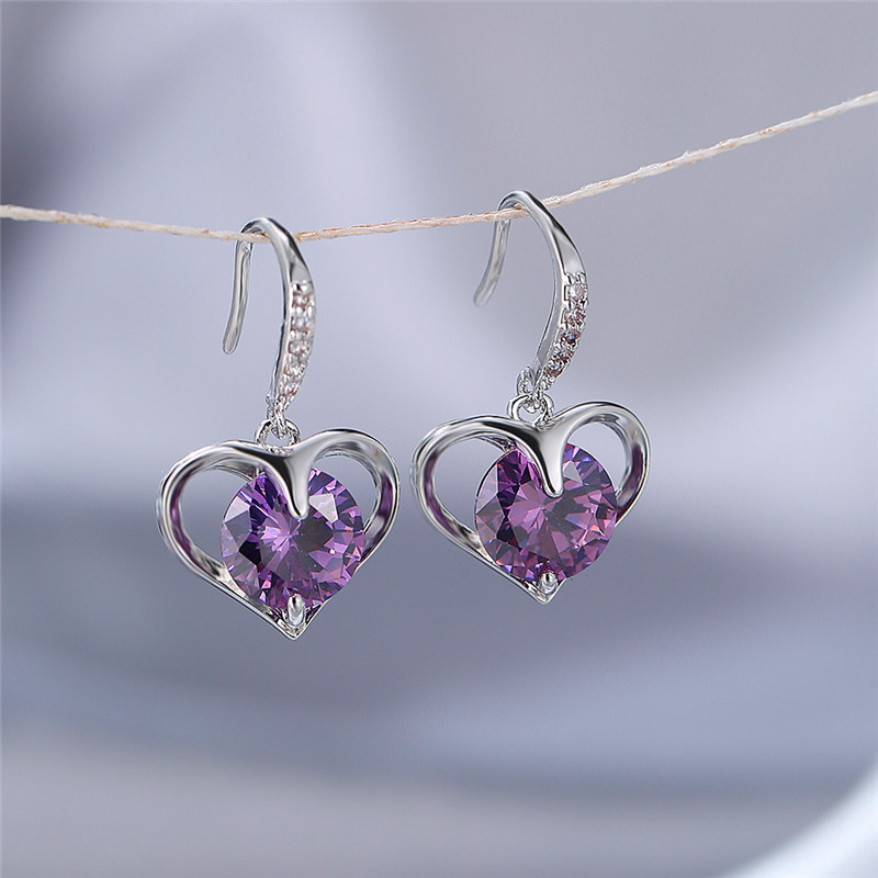 Dainty Female Rainbow Zircon Dangle Earrings Rose Gold Silver Color Earrings For Women Cute Heart Crystal Stone Wedding Earrings