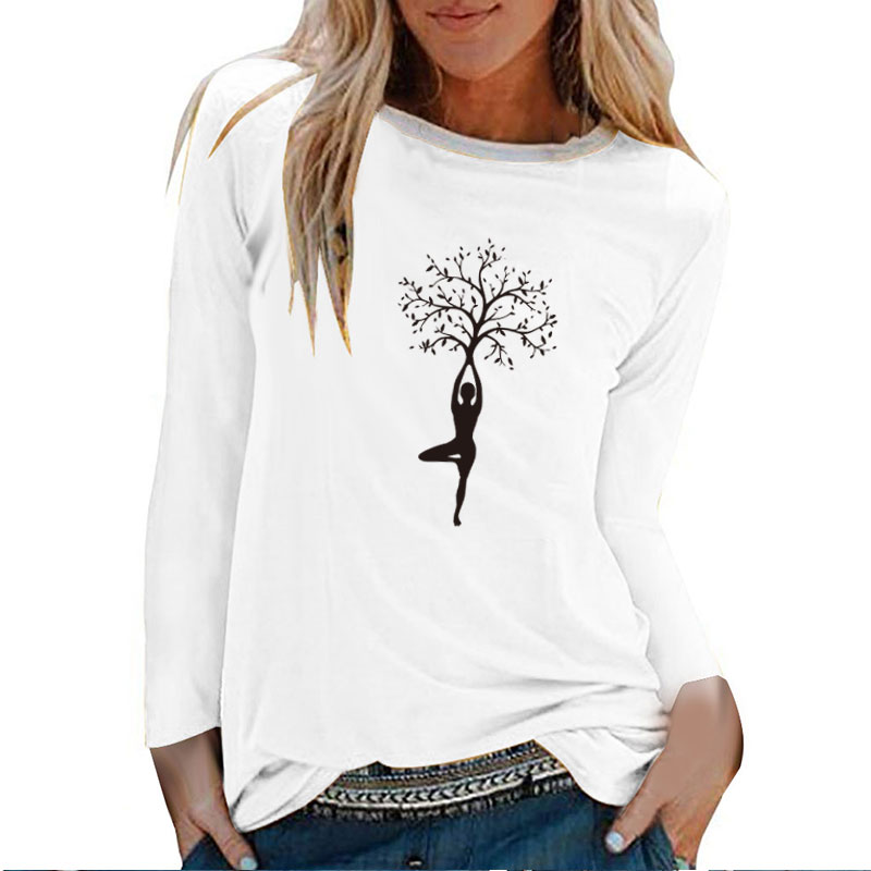 Lady Tree Print Long Sleeve T-shirts Women Autumn Winter Shirts for Women Cotton Graphic Tees Aesthetic White O Neck Tops Female