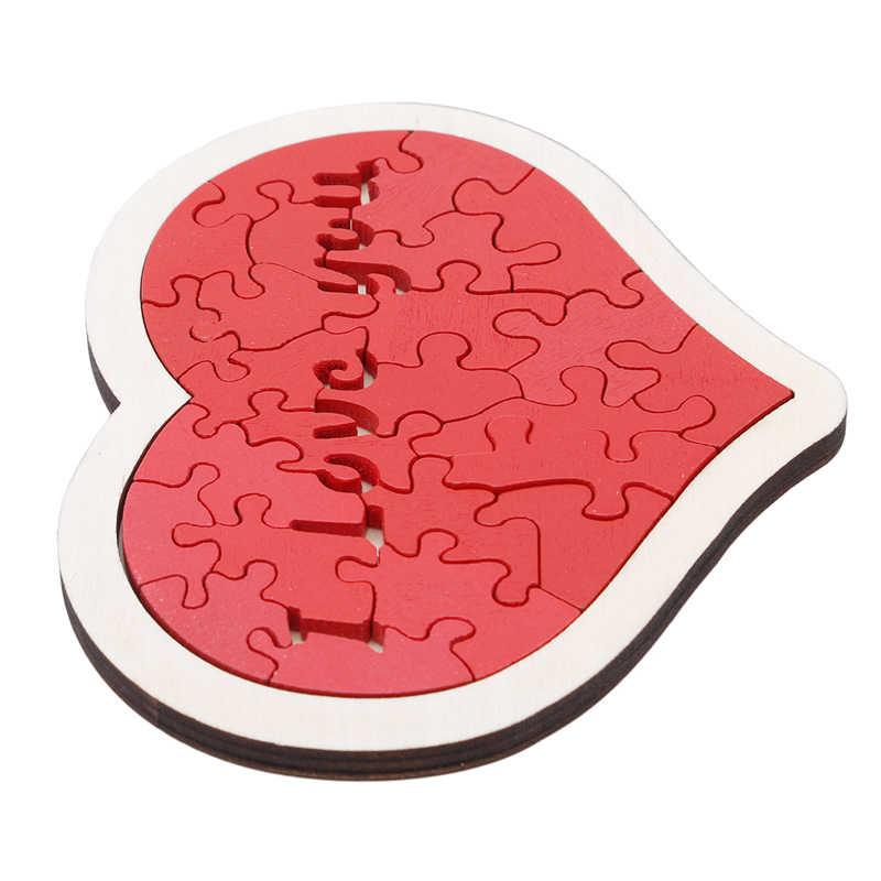 Baby Houten Speelgoed Hartvormige Puzzel Dier Educatief Developmental Baby Kid Training Speelgoed Educatief Speelgoed Gift Voor Baby