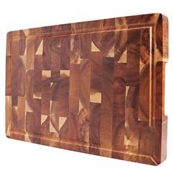 Экстра большая разделочная доска, прямоугольная Концевая зерно Мясник блок, кухонные разделочные доски, дерево акации, 18x12x1,4 дюймов