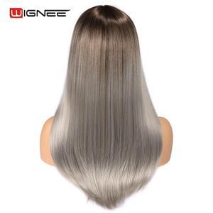 Image 4 - Wignee Hohe Temperatur Faser Gerade Synthetische Perücken für Frauen Durchschnitt Größe Medium Brown Frauen Perücke mit Pony Natürliche Haar Perücken