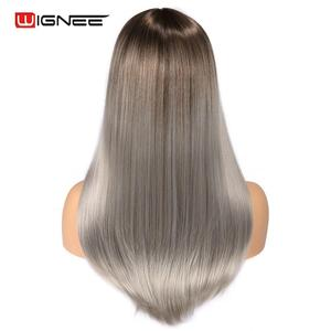 Image 4 - Wignee wysokiej temperatury włókna peruki syntetyczne proste dla kobiet średni rozmiar średni brąz kobiety peruka z grzywką peruki z naturalnych włosów