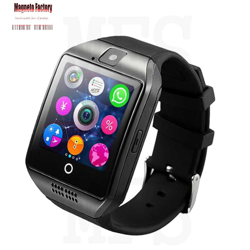 2020 بلوتوث ساعة ذكية الرجال Q18 مع كاميرا الفيسبوك Whatsapp تويتر مزامنة SMS Smartwatch دعم SIM TF بطاقة ل IOS أندرويد