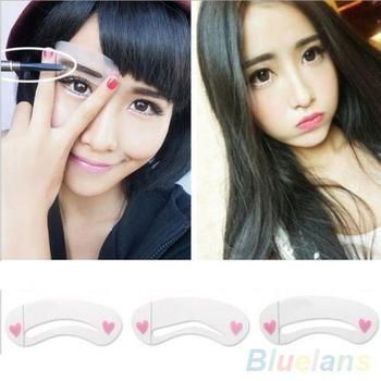3 Pcs/1 Set Thrush Card Threading Word Eyebrow Makeup Tools Artifact Aid Card Eyebrows Mold  Durable Eyebrow Assistant Template