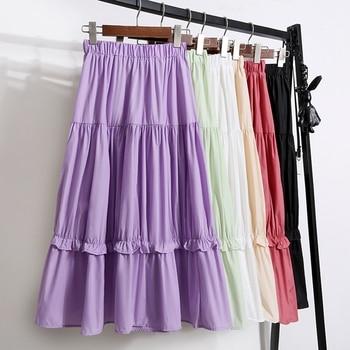 Summer skirt women casual ruffled pleated chiffon skirt ladies fashion elastic waist cotton long skirt midi female box pleated chiffon skirt