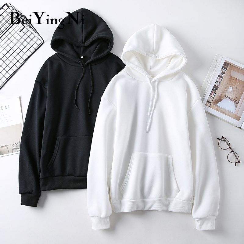 Beiyingni Oversized Sweatshirts Women Solid Color Harajuku Hooded Hoodies Female White Black Thick Winter Clothes Loose Hoodie