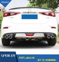 Para Mazda Axela 3 spoiler Traseiro ABS Pára Difusor Traseiro Protetor Bumpers Para Axela Depois de cromo lábio spoiler traseiro 2018