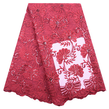 Kalume African Dry Lace Fabric Red High Quality Lace Milk Silk Lace Fabric With Sequins Embroidery For Nigerian Wedding 1814