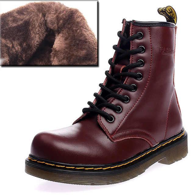 Unisex Martin çizmeler erkek botları hakiki deri çizmeler erkekler kış ayakkabı kış ayakkabı erkekler sıcak yarım çizmeler kış erkek ayakkabısı