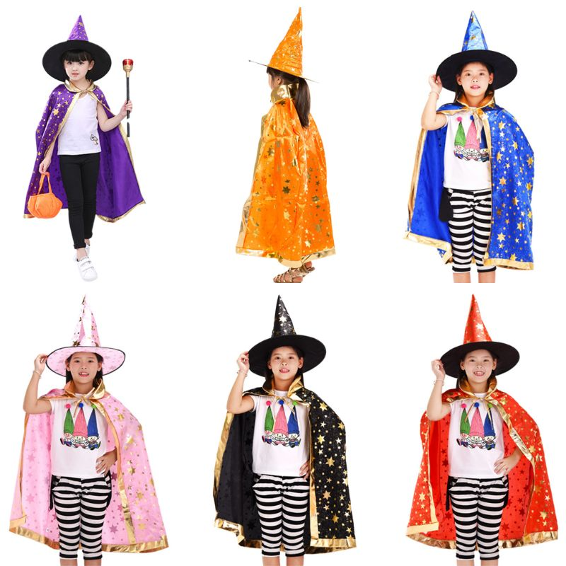 Unisex Children Bronzing Glitter Star Print Wizard Witch Costume Halloween Cloak With Pointed Hat Kids Cosplay Cape Party Props