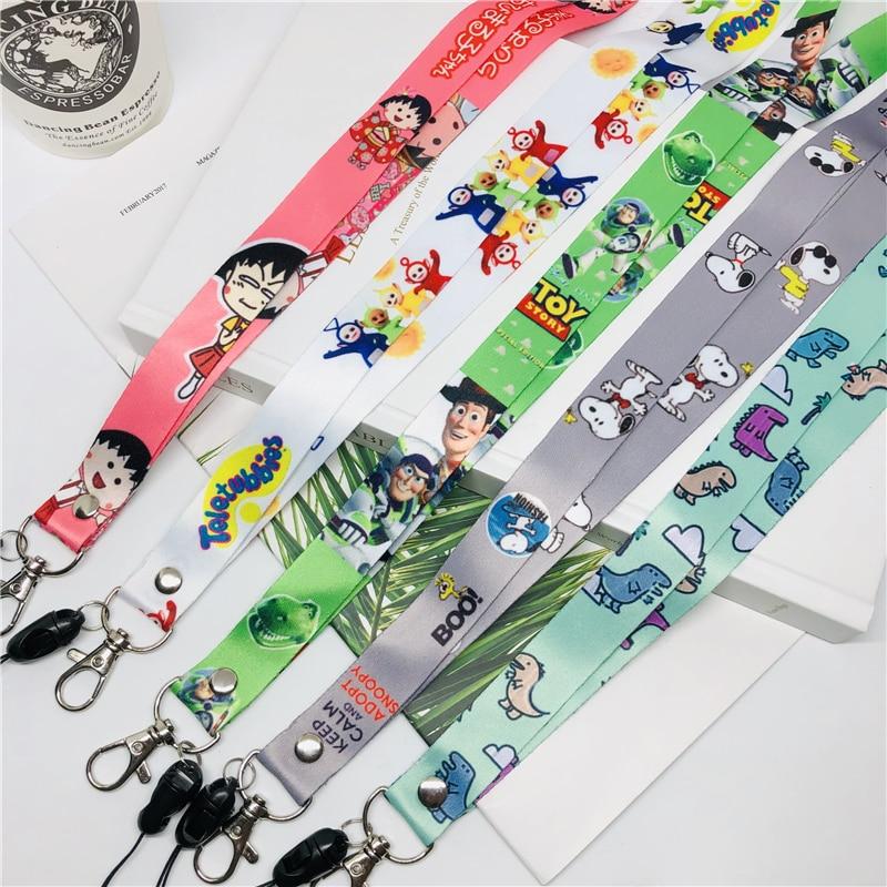 Cute cartoon neckband lanyard key ID card gym mobile phone with USB badge clip DIY lasso text