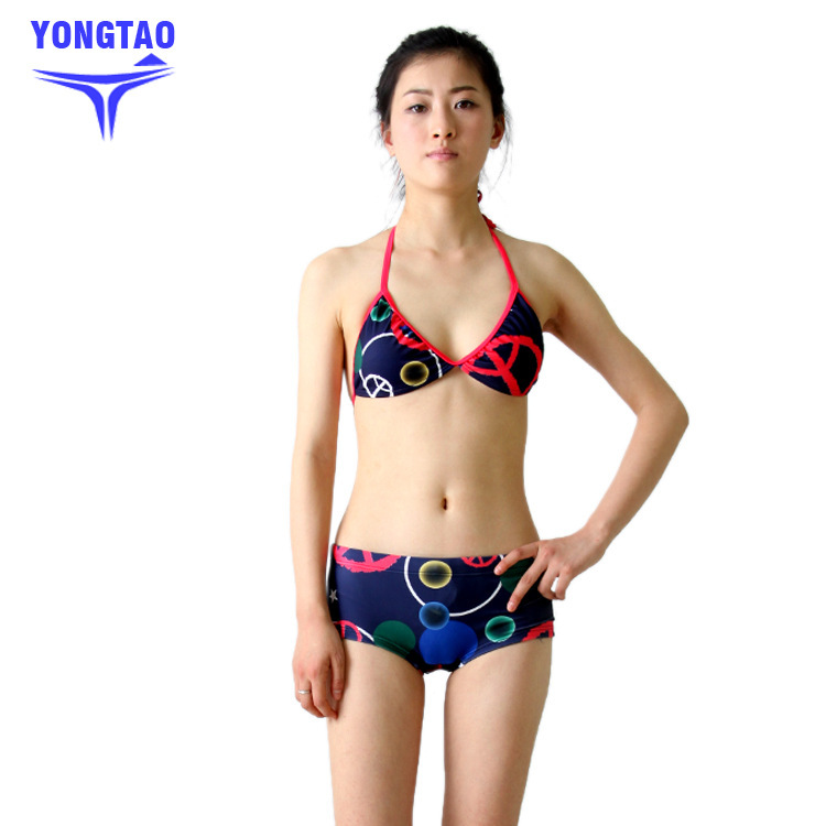 Yong Tao Women's Bikini Bathing Suit South Korea Style Sexy Bikini Split Type Swimwear Small Bust Gathering