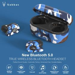 Sabbat X12 Ultra-mini Bluetooth 5.0 Earphones TWS In-Ear Wireless Headset Camouflage Style Binaural HD Stereo Sports Earbuds